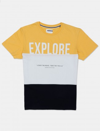 Octave yellow and white printed cotton men t-shirt