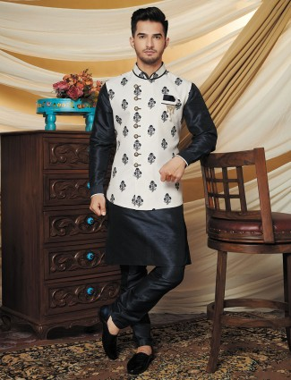Off white and black printed waistcoat set in raw silk