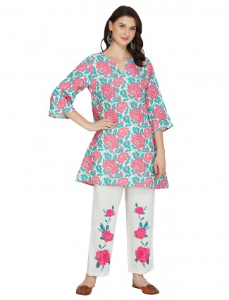 Off white cotton festive events punajabi style pant suit