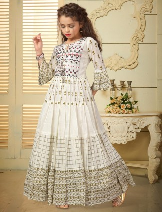 Off white cotton festive function gown