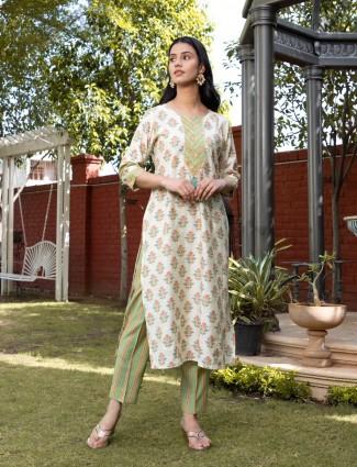 off white cotton festive wear printed punjabi style pant suit