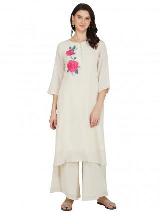 Off white cotton punjabi style festive functions palazzo suit