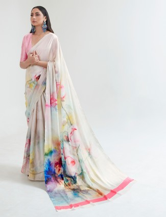 Off white crepe printed saree for festive occasions