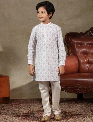 Off White full sleeves kurta suit special for festive