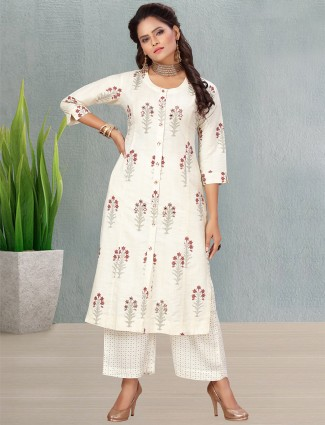 Off white printed cotton punjabi style palazzo suit for casual