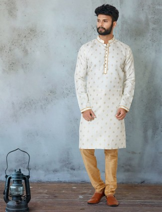 Off white printed kurta suit in cotton