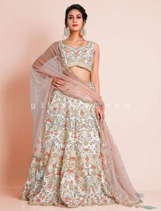 Off white raw silk beautiful lehenga choli for wedding