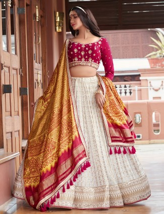Off white wedding wear lehenga with sequins work details