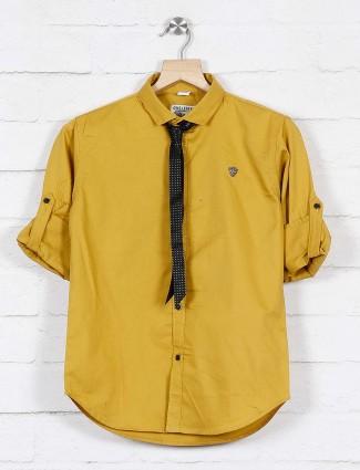 Okids mustard yellow solid cotton shirt