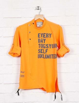 Okids orange printed party wear shirt
