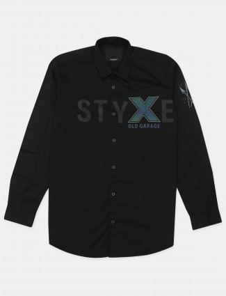 Old Garage black cotton casual wear shirt