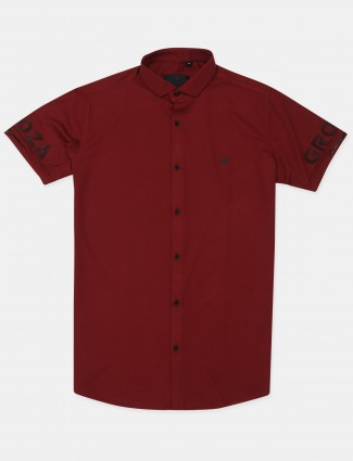 Old Garage maroon casual shirt in cotton
