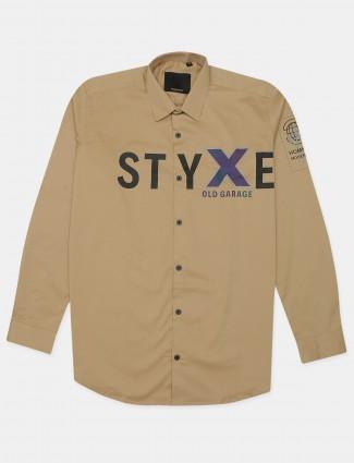 Old Garage printed beige cotton casaul wear shirt