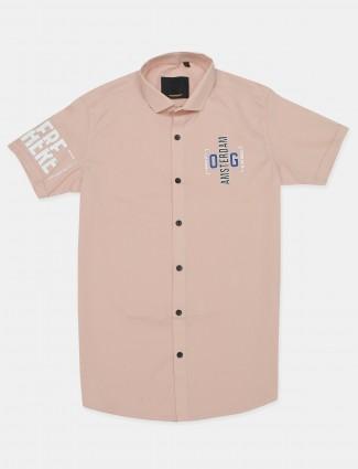 Old Garage solid pink cotton shirt