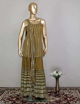 Olive attirable wedding wear palazzo suit with sequins work details