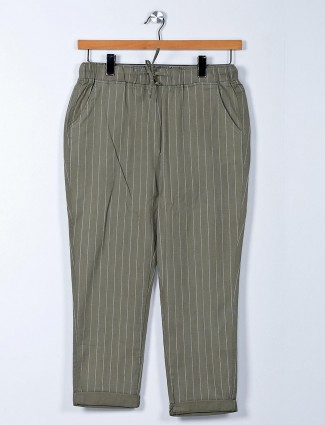 Olive cotton palazzo pant for women
