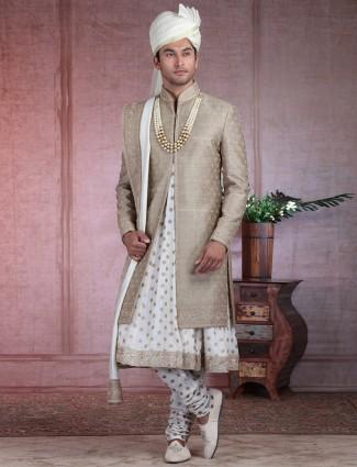 Olive designer groom wear sherwani in pure raw silk