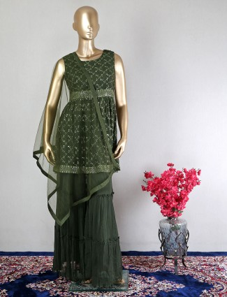 Olive georgette gorgeous sharara suit for wedding