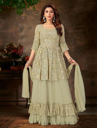 Olive georgette lehenga style suit for festivals
