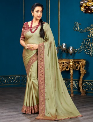 Olive green chiffon saree for festive look