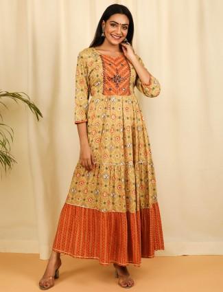 mustard yellow cotton casual wear printed kurti