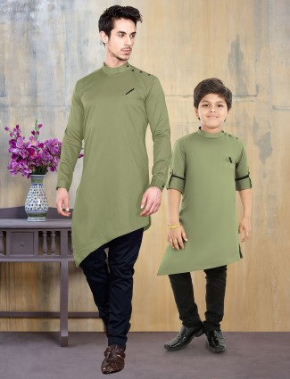 Olive green cotton silk solid father son kurta suit