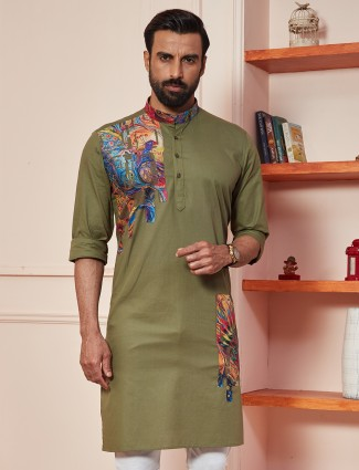 Olive green festive wear kurta for mens in cotton
