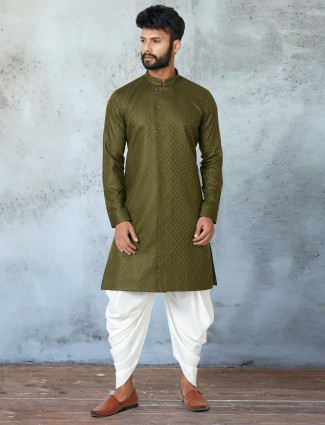Olive green shade cotton kurta with dhoti for mens