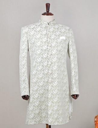 Olive green stunning indowestern sherwani for wedding
