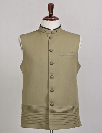 Olive green terry green waistcoat for mens