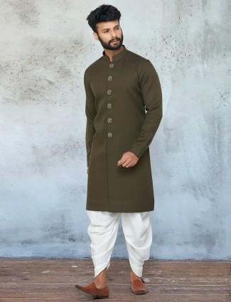 Olive green tint festive wear kurta set for mens