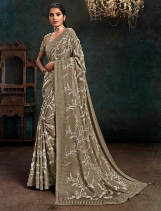 Olive marble chiffon festive wear saree