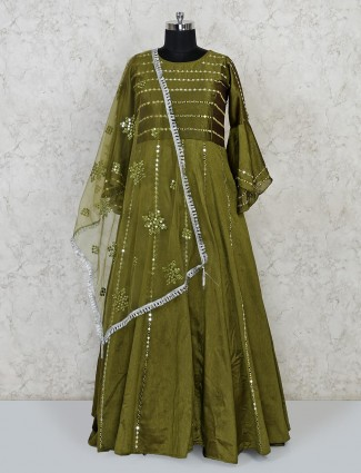 Olive raw silk party function floor length anarkali suit