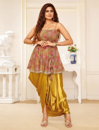 Olive silk printed punjabi style dhoti suit for festive occasions