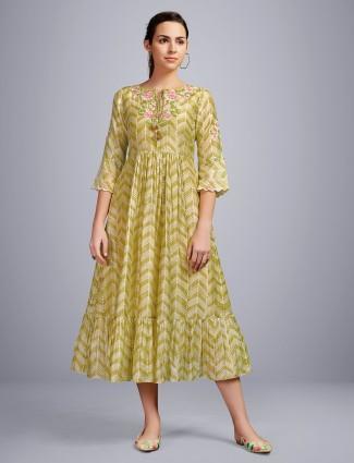 Olive thread woven festive wear cotton kurti