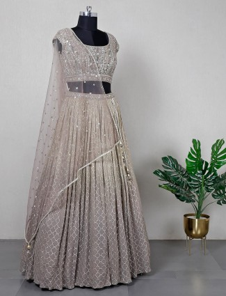 Olive wedding wear net lehenga choli for women