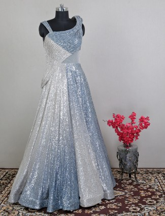 Ombre style blue and white party gown