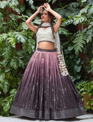 Ombre style mauve purple lehenga for pretty women