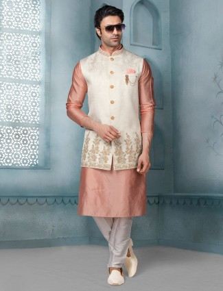 Onion pink and cream raw sillk party function waistcoat set