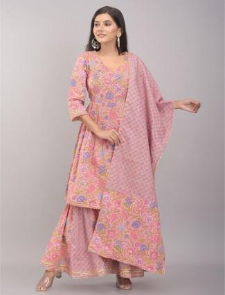 Onion pink color cotton punjabi style sharara suit