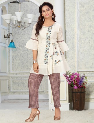 Onion pink cotton punjabi style pant suit for casual session
