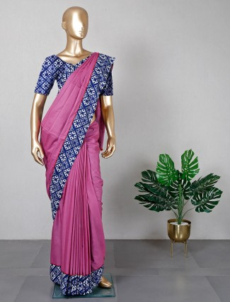 Onion pink cotton saree for women