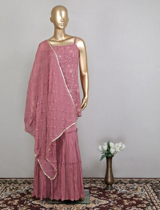 Onion pink designer palazzo salwar suit
