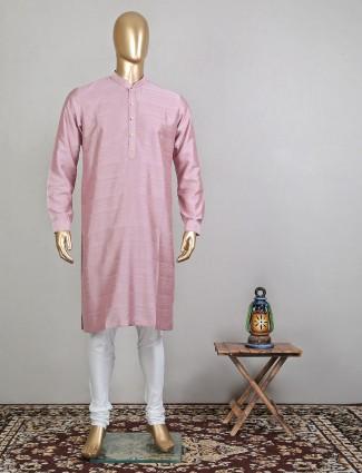 Onion pink designer raw silk festive wear kurta suit