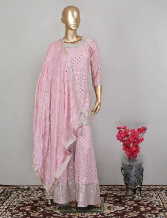 Onion pink fabulous hue wedding occasions palazzo suit