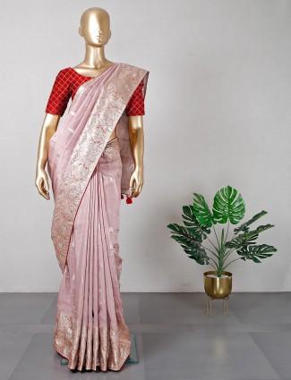 Onion pink festive wear silk saree