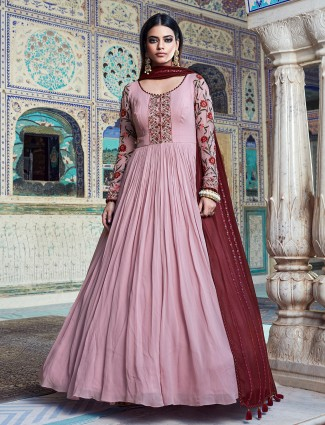 Onion pink georgette floor-length anarkali suit for wedding occasions