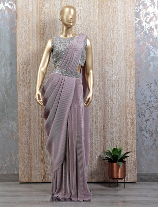 Onion pink hue ready to wear saree with ready made blouse