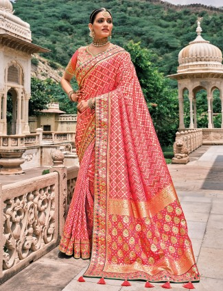 Coral pink innovative bandhej patola silk wedding saree