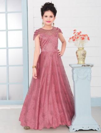 Onion pink net designer pretty gown